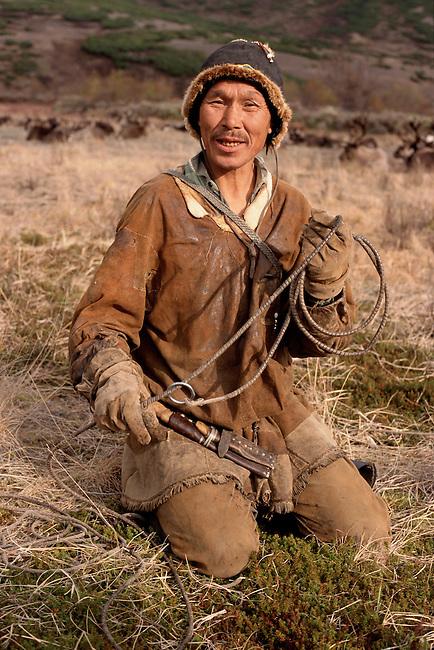 Sergei Elevye, a Chukchi reindeer herder in Koryakia. N.Kamchatka, Siberia, Russia.