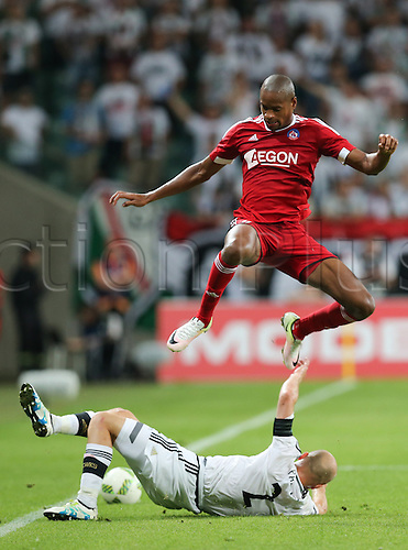 03.08.2016, Warsaw, Poland,  Michal Pazdan (Legia), Rangelo Janga (Trencin), Legia Warsaw versus AS Trencin, Champions League, qualification. The game  ended in a 0-0 draw with Legio going through on away goal.