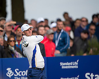 27.09.2014. Gleneagles, Auchterarder, Perthshire, Scotland.  The Ryder Cup.  Martin Kaymer (EUR) tee shot on the second.  Saturday Foursooms.