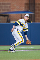 Michigan Wolverines third baseman Jimmy Kerr (15) on defense against the Eastern Michigan Hurons on May 3, 2016 at Ray Fisher Stadium in Ann Arbor, Michigan. Michigan defeated Eastern Michigan 12-4. (Andrew Woolley/Four Seam Images)