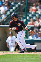 Rochester Red Wings center fielder Darin Mastroianni (24) at bat during a game against the Durham Bulls on July 20, 2016 at Frontier Field in Rochester, New York.  Rochester defeated Durham 6-2.  (Mike Janes/Four Seam Images)