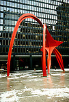 Illinois: Chicago.  Sculpture Calder Flamingo.  Photo chicag104..Photo copyright Lee Foster, 510/549-2202, lee@fostertravel.com, www.fostertravel.com