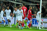 George Byers of Swansea City celebrates scoring his side's first goal during the Sky Bet Championship match between Swansea City and Fulham at the Liberty Stadium in Swansea, Wales, UK. Friday 29 November 2019