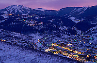 Overview of Town of Park City and Deer Valley at dusk.