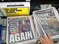 New York tabloid newspapers on Sunday, June 4, 2017 report on the previous night's terrorist attack in London, UK on London Bridge and in the surrounding area which left 6 dead and 48 hurt.. (© Richard B. Levine)