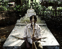 A villager from Balighato village in Kalinganagar armed with a bow and arrow. On 2 January 2006, the police in Kalinganagar opened fire on a group of tribals protesting against Tata's constructon of a steel plant on their land without having paid them adequate compensation. The killing of 12 villagers shocked the whole nation and all but paralysed the state government over the land issue. Armed with bows and arrows, the villagers keep a tight vigil at the entrance of their village to stop company officials or police entering their land.