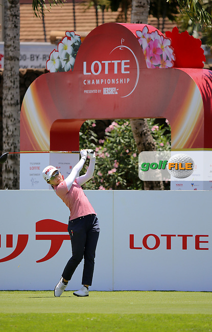 16 APR15 Japan's Ayako Uehara during Thursdays Second Round of The LOTTE Championship at The Ko Olina Golf Club in Kapolei, Hawaii. (photo credit : kenneth e. dennis/kendennisphoto.com)