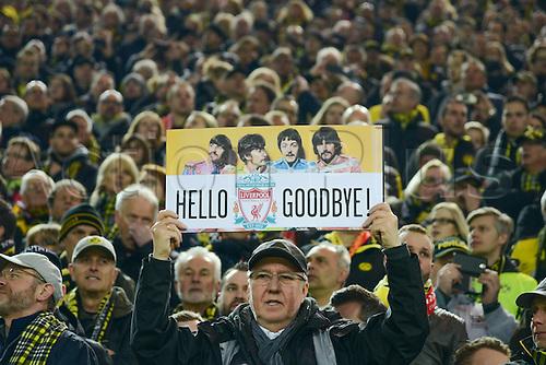 07.04.2016. Dortmund, Germany. Europa League quarterfinal. Borussia Dortmund versus Liverpool FC at the Signal Iduna Park Dortmund.  Dortmunder Fans