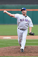 Buffalo Bisons relief pitcher Dale Thayer #31 delivers a pitch during a game against the Charlotte Knights at Dunn Tire Park on May 22, 2011 in Buffalo, New York.  Buffalo defeated Charlotte by the score of 7-5.  Photo By Mike Janes/Four Seam Images
