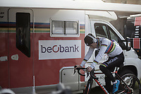 Later winner Sanne Cant (BEL/Iko Beobank) pre race warming up. <br /> <br /> Women's Race<br /> Belgian National Cyclocross Championships 2018 / Koksijde