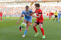 Bridgeview, IL - Sunday June 12, 2016: Sofia Huerta, Meghan Klingenberg during a regular season National Women's Soccer League (NWSL) match between the Chicago Red Stars and the Portland Thorns at FC Toyota Park.