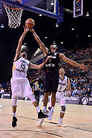 Jordan&rsquo;s Ahmad Obeid and New Zealand Tall Blacks&rsquo; Mika Vukona in action during the FIBA World Cup Basketball Qualifier - NZ Tall Blacks v Jordan at Horncastle Arena, Christchurch, New Zealand on Thursday 29 November  2018. <br /> Photo by Masanori Udagawa. <br /> www.photowellington.photoshelter.com