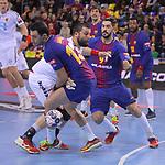 VELUX EHF 2017/18 EHF Men's Champions League Group Phase - Round 11.<br /> FC Barcelona Lassa vs HC Vardar: 29-28.<br /> Aitor Ari&ntilde;o, Stojanche Stoilov &amp; Raul Raul Entrerrios.