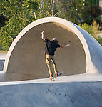 A skateboarder at Mobash Skate Park in Missoula, Montana