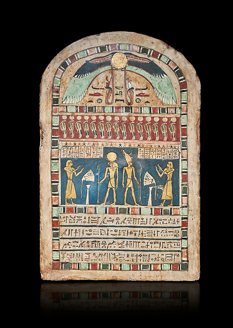 Ancient Egyptian stele dedicated to Ra-Harakhty & Atum by Psetjerfi, Late Period 26th Dynasty, (590-525 BC), Cat 1568. Egyptian Museum, Turin. black background,<br /> <br /> Gifted by the Cairo Museum