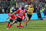 NELSON, NEW ZEALAND - MAY 29:   Dane Coles of the Hurricane steps of his right on his way to score during the Round 16 Super Rugby match between the Crusaders and the Hurricanes at Trafalgar Park on May 29, 2015 in Nelson, New Zealand. (Photo by Marc Palmano/Shuttersport Limited)