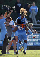 SAN DIEGO, CA - DECEMBER 02, 2012:  Meg Morris (32) and Satura Murray (44) of the University of North Carolina celebrate at the end of the NCAA 2012 women's college championship match, at Torero Stadium, in San Diego, CA, on Sunday, December 02 2012. Carolina won 4-1.