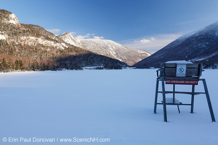 Franconia Notch State Park from Echo Lake beach in the White Mountains, New Hampshire USA during the winter months