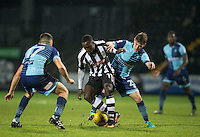 Dominic Gape of Wycombe Wanderers battles Jonathan Forte of Notts Co during the Sky Bet League 2 match between Notts County and Wycombe Wanderers at Meadow Lane, Nottingham, England on 10 December 2016. Photo by Andy Rowland.