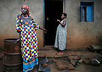 Two women at a home outside of Kasese in rural Southwestern Uganda.