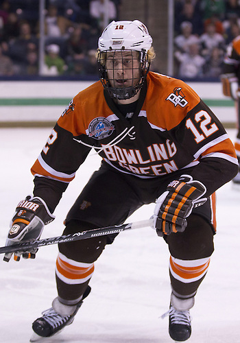 March 15, 2013:  Bowling Green forward Bryce Williamson (12) during NCAA Hockey game action between the Notre Dame Fighting Irish and the Bowling Green Falcons at Compton Family Ice Arena in South Bend, Indiana.  Notre Dame defeated Bowling Green 1-0 in overtime.