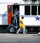 .March 26th 2012 ..Mandy Moore filming her new tv pilot in Los Angeles wearing a yellow dress..AbilityFilms@yahoo.com.805-427-3519.www.AbilityFilms.com