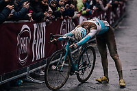 an exhausted Pierre Latour (FRA/AG2R-La Mondiale) crosses the finish line<br /> <br /> 12th Strade Bianche 2018<br /> Siena > Siena: 184km (ITALY)
