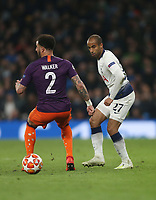 Tottenham Hotspur's Lucas Moura and Manchester City's Kyle Walker<br /> <br /> Photographer Rob Newell/CameraSport<br /> <br /> UEFA Champions League Quarter-finals 1st Leg - Tottenham Hotspur v Manchester City - Tuesday 9th April 2019 - White Hart Lane - London<br />  <br /> World Copyright © 2018 CameraSport. All rights reserved. 43 Linden Ave. Countesthorpe. Leicester. England. LE8 5PG - Tel: +44 (0) 116 277 4147 - admin@camerasport.com - www.camerasport.com