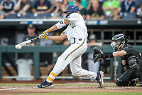 Michigan Wolverines outfielder Jordan Brewer (22) swings the bat against the Vanderbilt Commodores during Game 2 of the NCAA College World Series Finals on June 25, 2019 at TD Ameritrade Park in Omaha, Nebraska. Vanderbilt defeated Michigan 4-1. (Andrew Woolley/Four Seam Images)