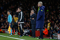 Georgi Dermendzhiev (Coach) of Ludogorets Razgrad (2nd right) bites his nails while Arsene Wenger of Arsenal (right) looks on during the UEFA Champions League match between Arsenal and PFC Ludogorets Razgrad at the Emirates Stadium, London, England on 19 October 2016. Photo by David Horn / PRiME Media Images.