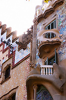 Modernista facade on las Ramblas. Barcelona, Catalonia, Spain.