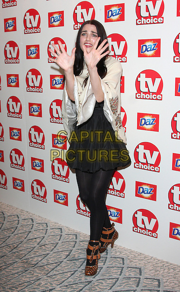 KATIE McGRATH .TV Choice Awards 2010 at The Dorchester Hotel, Park Lane, London,  September 6th 2010..arrivals full length black tights boots ankle orange cream vintage cape embroidered hands funny .CAP/ROS.©Steve Ross/Capital Pictures