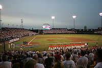 NCAA Baseball, Rosenblatt Stadium, College World Series. Photo by Andrew Woolley / Four Seam Images..