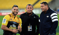 Cory Jane chats with All Blacks coaches Steve Hansen (right) and Ian Foster (centre) after the Super Rugby match between the Hurricanes and Jaguares at Westpac Stadium, Wellington, New Zealand on Saturday, 9 April 2016. Photo: Russell Potts / lintottphoto.co.nz
