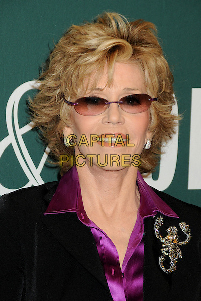 "Jane Fonda.Jane Fonda Book Signing for ""Prime Time: Love, Health, Sex, Fitness, Friendship, Spirit -- Making the Most of All of Your Life."" held at Barnes & Noble, The Grove, Los Angeles, California, USA..August 15th, 2011.headshot portrait black purple silk satin collar gold brooch scorpion sunglasses shades .CAP/ADM/BP.©Byron Purvis/AdMedia/Capital Pictures."