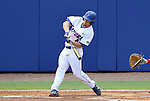 09 June 2012: Florida's Nolan Fontana hits the ball. The University of Florida Gators defeated the North Carolina State University Wolfpack 7-1 at Alfred A. McKethan Stadum in Gainesville, Florida in Game 1 of their NCAA College Baseball Super Regional series.