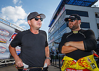 Sep 5, 2016; Clermont, IN, USA; NHRA top fuel driver Steve Torrence (left) and Shawn Langdon during the US Nationals at Lucas Oil Raceway. Mandatory Credit: Mark J. Rebilas-USA TODAY Sports