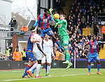 Crystal Palace's Emmanuel Adebayor and Alex McCarthy clear the ball<br /> <br /> - English Premier League - Crystal Palace vs Liverpool  - Selhurst Park - London - England - 6th March 2016 - Pic David Klein/Sportimage