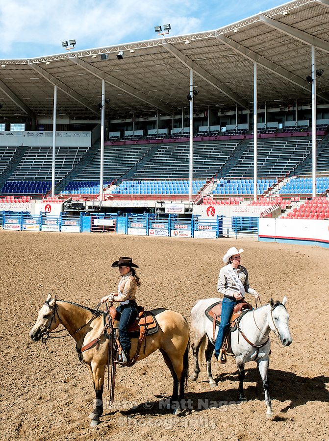 Miss Rodeo Colorado 2016 contestants Kelsie Winslow, left, and Kelli Stockton, during the horsemanship competition at the Miss Rodeo Queen Colorado competition at the Greely Stampede in Greely, Colorado, July 1, 2015.<br /> <br /> Photo by Matt Nager