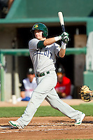 Daniel Robertson (18) of the Beloit Snappers follows through on his swing against the Lansing Lugnuts at Cooley Law School Stadium on May 5, 2013 in Lansing, Michigan.  The Lugnuts defeated the Snappers 5-4.  (Brian Westerholt/Four Seam Images)