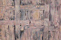 """Wooden Door. Nanping. (Anhui Province, CH.) Continental Drift. <br /> Color Pencil on paper.26"""" x 40"""".<br /> Judy Byron. 2013<br /> Photo credit: Rick Reinhard"""
