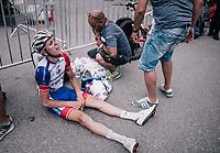 an exhausted David Gaudu (FRA/Groupama - FDJ) after finish the race<br /> <br /> Stage 7: Moûtiers > Saint-Gervais Mont Blanc (129km)<br /> 70th Critérium du Dauphiné 2018 (2.UWT)