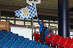 Motherwell v St Johnstone.....16.04.11  Scottish Cup Semi-Final.A lone saints fan makes gives a last wave of his flag before leaving Hampden after watching his side lose 3-0.Picture by Graeme Hart..Copyright Perthshire Picture Agency.Tel: 01738 623350  Mobile: 07990 594431