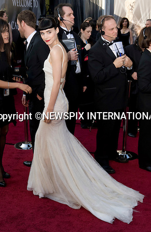 """OSCARS 2012 - ROONEY MARA.84th Academy Awards arrivals, Kodak Theatre, Hollywood, Los Angeles_26/02/2012.Mandatory Photo Credit: ©Dias/Newspix International..**ALL FEES PAYABLE TO: """"NEWSPIX INTERNATIONAL""""**..PHOTO CREDIT MANDATORY!!: NEWSPIX INTERNATIONAL(Failure to credit will incur a surcharge of 100% of reproduction fees)..IMMEDIATE CONFIRMATION OF USAGE REQUIRED:.Newspix International, 31 Chinnery Hill, Bishop's Stortford, ENGLAND CM23 3PS.Tel:+441279 324672  ; Fax: +441279656877.Mobile:  0777568 1153.e-mail: info@newspixinternational.co.uk"""