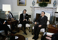 Washington DC., USA, September 28, 1984<br /> President Ronald Reagan meets with Soviet Andrei Gromyko in the Oval Office of the White House. Credit: Mark Reinstein/MediaPunch