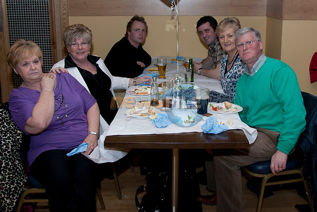 At the Christening in the Thatch; (Clockwise) Eileen McGuirk, Phillis Fitzpatrick, John Green, Derek Thornton, Aggie Thornton and Kit Thornton..Picture: Shane Maguire / www.newsfile.ie.