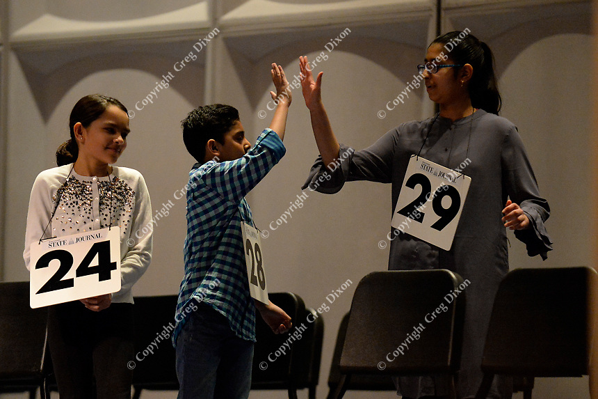 Immanuel Goveas at the 2018 Badger State Spelling Bee on Saturday, 3/24/18, at MATC's Mitby Theater in Madison, Wisconsin (#28). Goveas ties for first place, advancing to the Scripps National Spelling Bee in May.