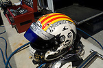 Oriol Servia's Salvador Dali inspired helmet at the Champ Car Grand Prix of Cleveland, 2007.