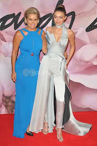 Yolanda H. Foster and Gigi Hadid at the Fashion Awards 2016, Royal Albert Hall, Kensington Gore, London, England, UK, on Monday 05 December 2016. <br /> CAP/CAN<br /> ©CAN/Capital Pictures /MediaPunch ***NORTH AND SOUTH AMERICAS ONLY***