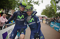 buddies José Joaquín Rojas (ESP) &amp; Nairo Quintana (COL)<br /> showing some love before the stage start<br /> <br /> Tour of Britain<br /> stage 2: Carlisle to Kendal (187km)